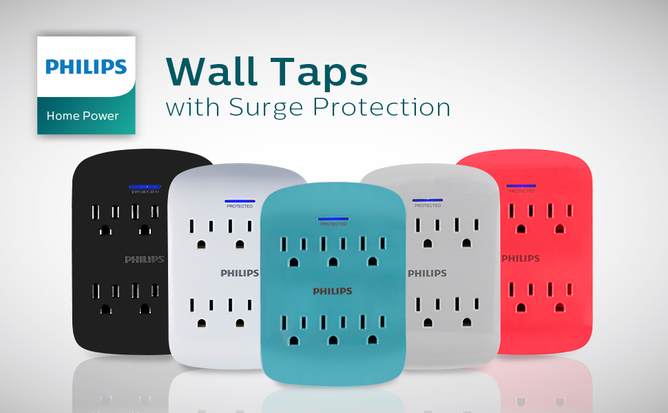 6 Outlet Surge Protector Wall Tap Adapter Extender