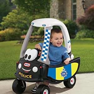 little tikes, cozy coupe, police patrol car, first car, pedal-powered car, classic car, police car