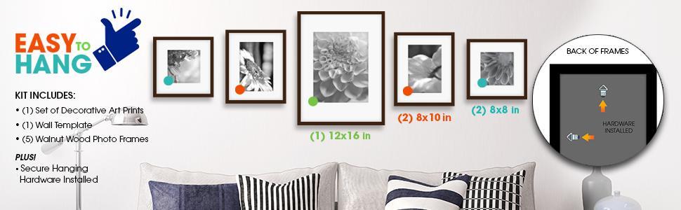 Amazon.com - Gallery Perfect 5 Piece Walnut Wood Photo Frame Wall ...
