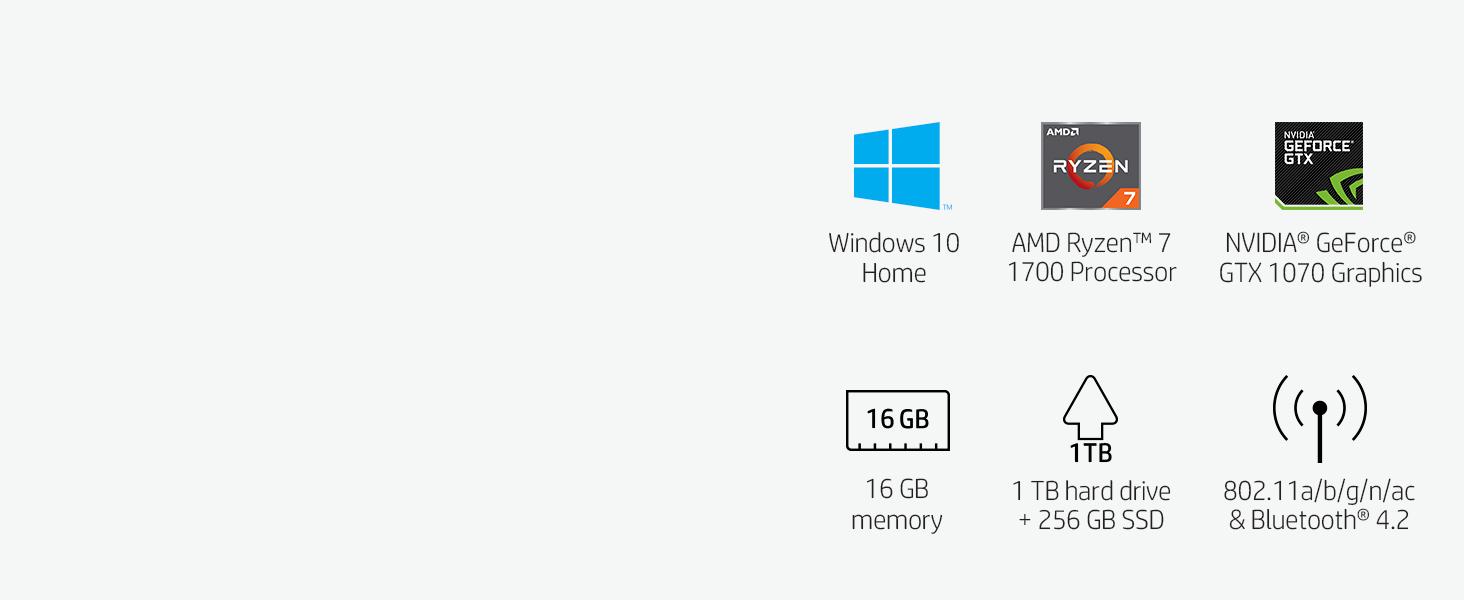 OMEN by HP Gaming Desktop Computer, AMD Ryzen 7 1700 Processor, NVIDIA  GeForce GTX 1070 8 GB, 16 GB RAM, 1 TB hard drive, 256 GB SSD, Windows 10  Home