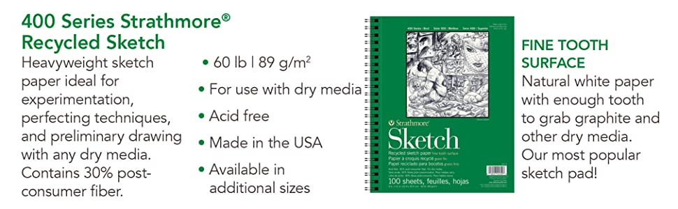 Fine tooth surface, heavyweight sketch paper, recycled paper