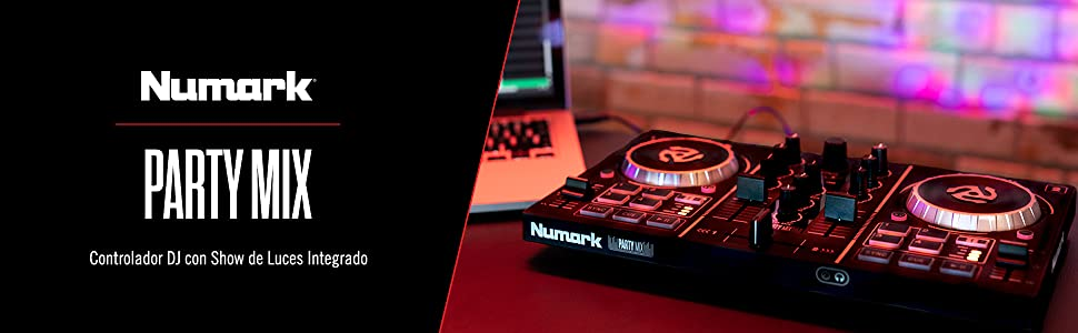 Numark Party Mix - Controlador de DJ plug-and-play de 2 canales para Serato DJ Lite con interfaz de audio incorporada, controles de pad, crossfader, jogwheels y pantalla: Amazon.es: Electrónica