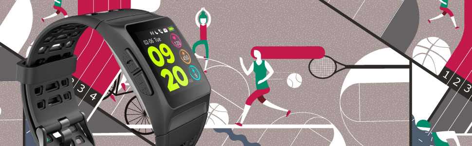 SPC Smartee Sport-Reloj Inteligente Waterproof (GPS, acuático, Pantalla IPS, pulsómetro, podómetro, Bluetooth, ROM 64MB), Adultos Unisex, Negro, ...