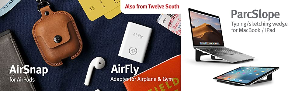 airsnap lether case, airfly wireless bluetooth transmitter, timeporter apple watch travel stand