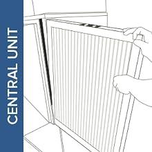 illustration inserting filtrete filter into central unit