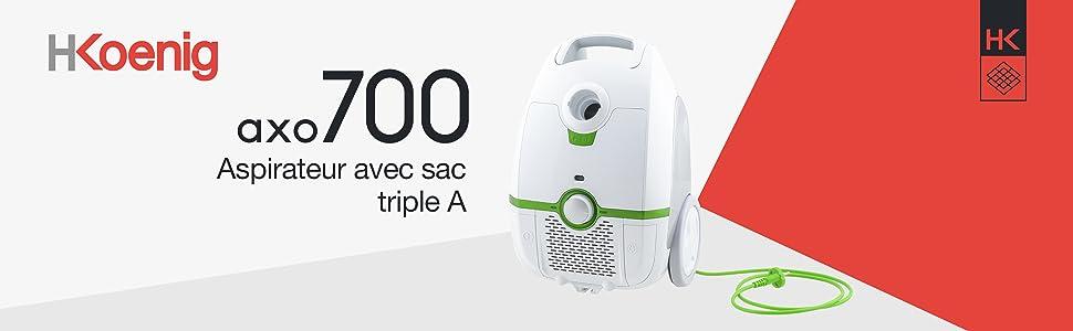 H.Koenig/_AXO720 Capacidad 3 L Clase Energ/ética A+ Aspiradora con Bolsa Potente Tecnolog/ía Silenciosa 76 dB Regulador de Potencia Filtro HEPA H12
