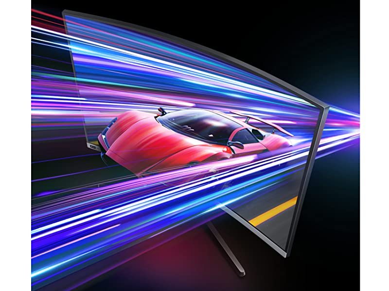 Sports car emerging out of Samsung CRG5 240Hz Curved Gaming Monitor
