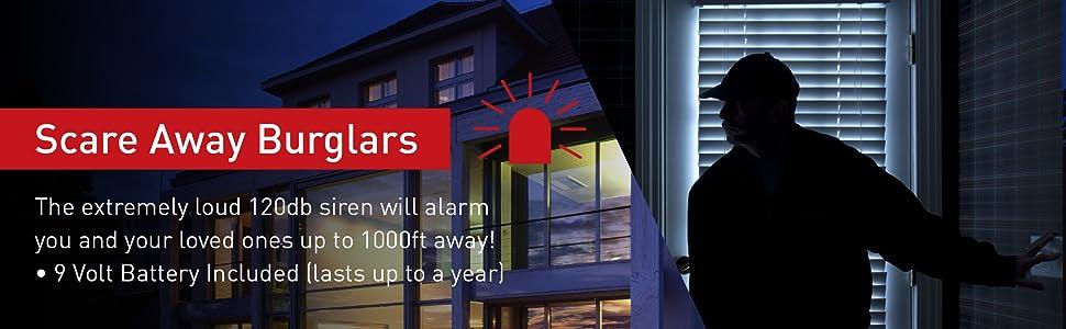 2-in-1 Adjustable Door Knob Alarm Jammer & Sliding Patio Door Security Bar 120db Loud Alert Siren
