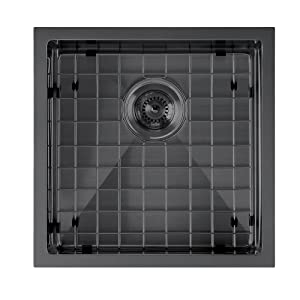 WHNPL1818, matte Black, Sink, Kitchen, Noah Plus, Undermount, Drop in, Stainless Steel, Grid, Drain