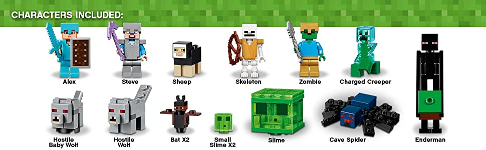 minecraft, gaming, mountain, cave, steve, alex, minecart, lego, bat, wolf, sheep, skeleton, creeper