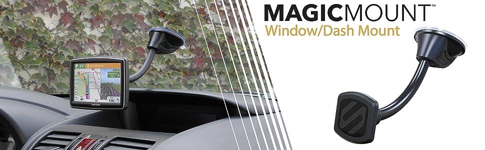 scosche magwdm window dash mount on car window with gps