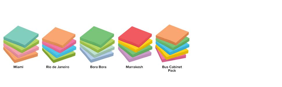 Post-it Notes in colors: Miami, Rio de Janeiro, Bora Bora, Bali, New York and Marrakesh