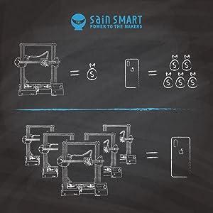 SainSmart x Creality Ender-3 3D Printer, Resume Printing V-Slot Prusa i3,  Build Volume 220 x 220 x 250 mm, for Home and School Use