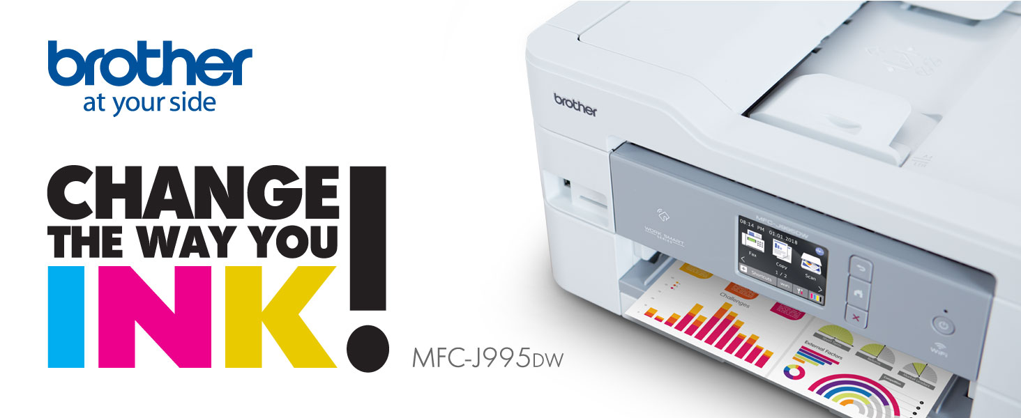 Brother Inkjet Printer, MFC-J995DW, Change the way you ink!