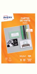 Cartes De Visite Avery Blanc Mat Quick Clean Bords Lisses