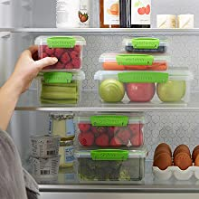 Stack neatly in your fridge to fill it up with fresh choices.