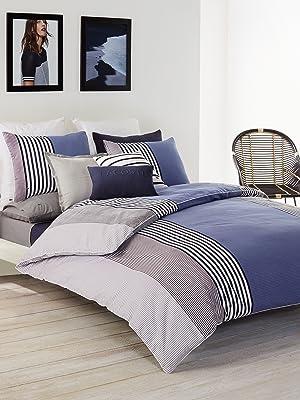 meribel lacoste blue black white stripe modern geometric duvet comforter blanket cotton