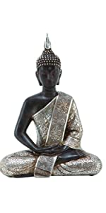 Deco 79 Tibet Buddha Dhyana Mudra with Silver Robe Polyresin