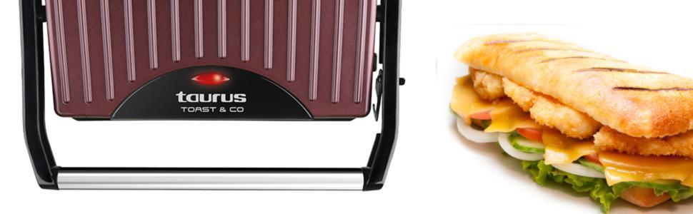 Taurus Toast Go Sandwichera 700 W Superficie Antiadherente De 23 X 14 5 Cm Amazon Es Hogar Y Cocina