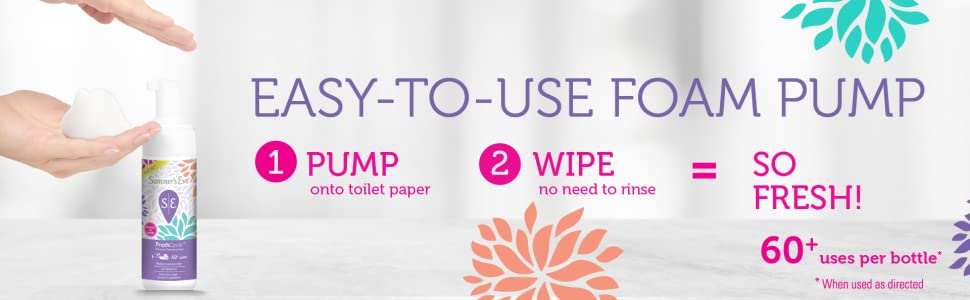 Easy-to-use-foam pump pump onto toilet paper, wipe no need to rinse, so fresh. 60+ uses per bottle