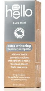 Extra whitening toothpaste, natural, hello, fluoride