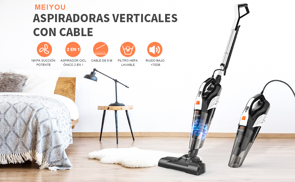 Aspiradora Escoba, MEIYOU Aspirador Mano con Cable Succión 18000 ...