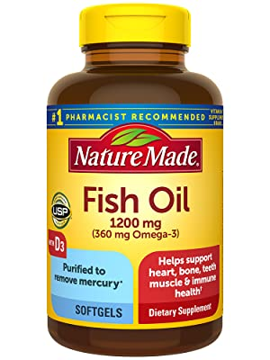 Nature Made Fish Oil 1200 mg + Vitamin D3 25 mcg (1000 IU) Softgels
