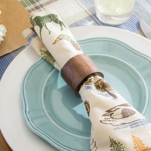 natural napkin ring wood walnut cabin hunting decor