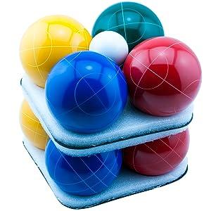 bocce ball, regulation, colored, blue, yellow, green, red, pallino, white, set
