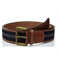 mens ribbon inlay leather black belt
