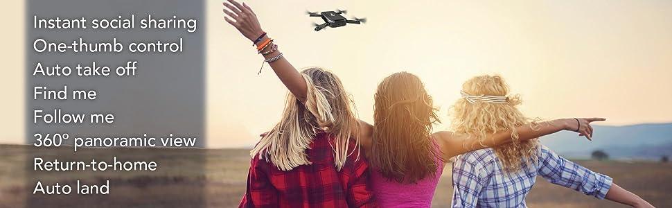 Amazon.com: C-me Cme Social Media Flying Camera: Folding Mini Pocket Selfie Drone with WiFi, GPS, 8MP Digital Camera, and Full HD 1080p Video, Black: Toys & Games