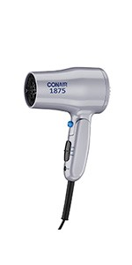 Conair 1875 Watt Compact Hair Dryer with Folding Handle; Dual Voltage