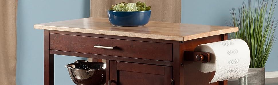 Amazon.com: Winsome Marissa - Carrito de cocina de madera de ...