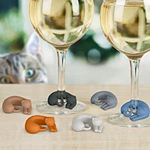 Fred WINE LIVES Kitty Drink Markers, Set of 6