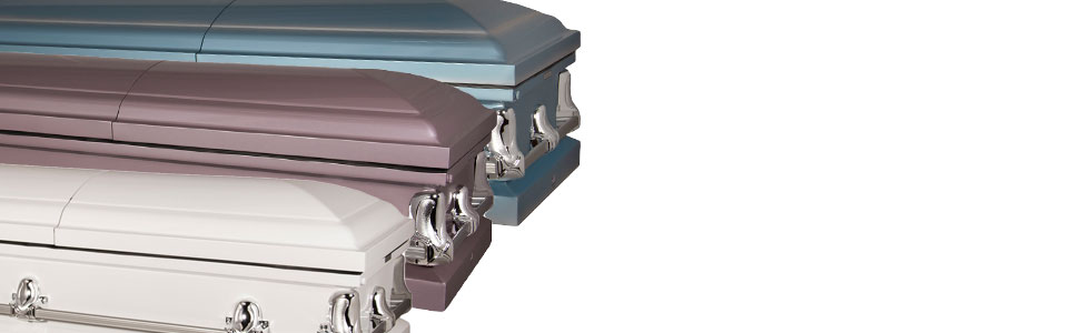 Titan Casket Orion series funeral coffin steel casket blue purple white