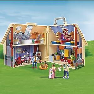 Playmobil, Dolls House, Modern, Carry Along, Take Along, Figures, House