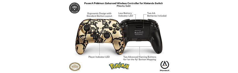 PowerA - Mando inalámbrico mejorado Pokémon Pikachu Gold (Nintendo Switch): Amazon.es: Videojuegos