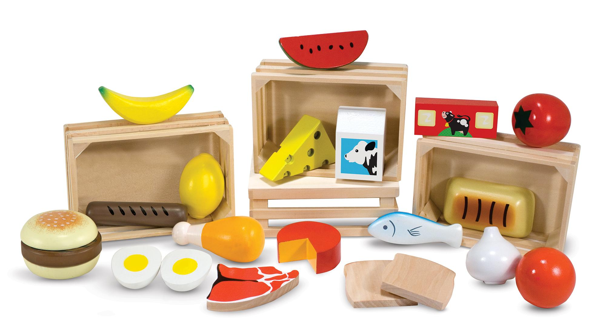 Melissa & Doug Food Groups 21 Hand Painted Wooden Pieces and 4