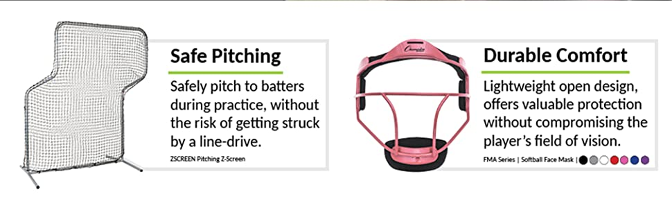 Champion Sports Pitching Screen (ZSCREEN) and Pink Steel Facemask (FMAPK)
