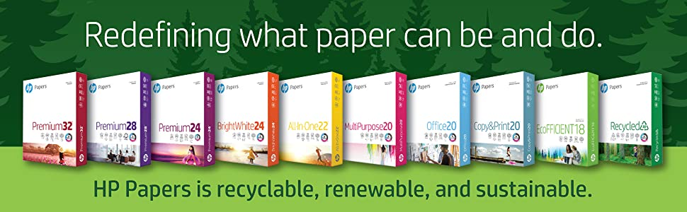 Array of complete line of HP Papers, HP Papers is recyclable, renewable, and sustainable.