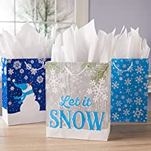 Perfectly fluffed tissue paper in holiday gift bags make for impressive gift presentation.