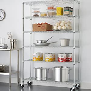 TRINITY 48 x 18 x 72 Wire Shelving Rack with Backstands