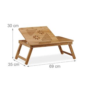 Relaxdays Natur Höhenverstellbarer Laptoptisch Fürs Bett Bambus Notebooktisch M