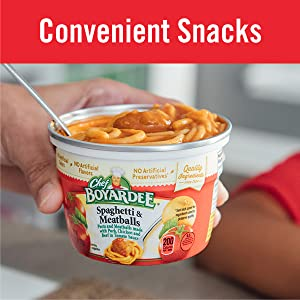Chef Boyardee makes a convenient snack