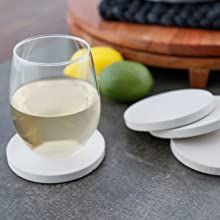 coasters wine glass drip protection sandstone coasters set with holder lazy susan