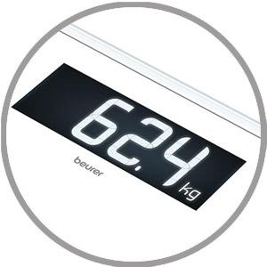 Verlicht wit XL-display met een cijfergrootte van 39 mm.