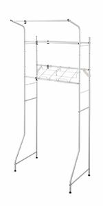 ランドリーラック ランドリー収納 棚 ハンガー 洗剤 置き場 ホワイト 洗濯かご 洗濯カゴ 台