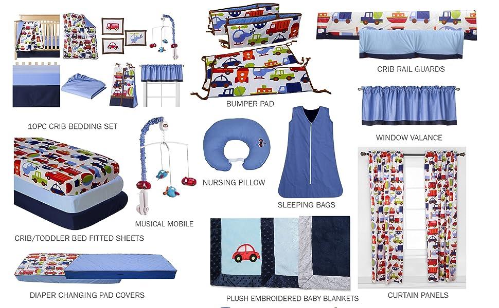Transportation Boys Crib Bedding Collection