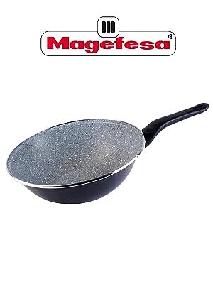 Magefesa Wok 28 cm, modelo Dolomiti, Color gris marengo, válido inducción.