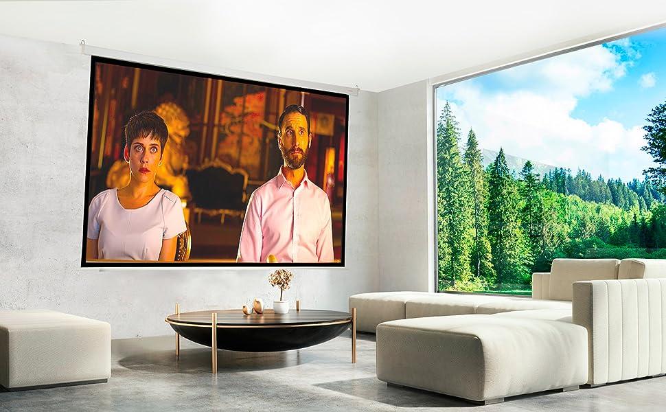 pantalla de proyección eléctrica, pantalla para proyector motorizada, pantalla para proyector amazon